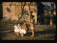 Girl Buggy Boys Baby Stroller 1950s 35mm Slide Vtg Red Border Kodachrome Kids