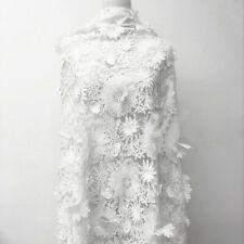 3D Blanco Encordado de Boda Vestido Tela Encaje en Flor Bordado Disfraz Recortar