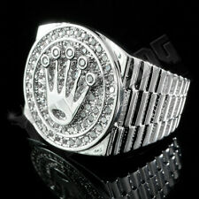 18K White Gold Plated ICED OUT CZ Presidential MICROPAVE Style Band Mens Ring