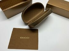 Gucci Glasses Large Case Sunglasses Hard Brown Leather Cloth Sunglass Eyeglass