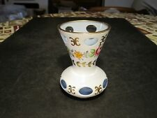 Quality Petite Bohemian White Cut to Clear & Blue Glass Vase