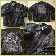 AVIREX 1975 VINTAGE SILVER Anni Zip HEAVY LEATHER JACKET XL AUTHENTIC Sewn $499!