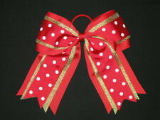 """NEW """"GOLD RED DOTS"""" Cheer Hair Bow Pony Tail 3 Inch Ribbon Girls Cheerleading"""