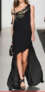 NEW BCBGMAXAZRIA RUNWAY BLACK POLY BEADED ONE SHOULDER HIGH LOW GOWN SIZE M