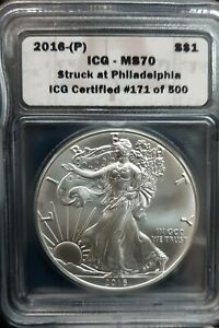 2016-(P) american Silver Eagle coin 1$ MS70 Struck at Philadelphia ICG 1 of 500
