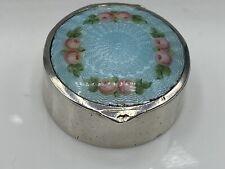 Art Deco Hallmarked 800 Silver & Guilloche Enamel Small Pill Box