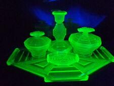 Art Deco uranium glass Bagley Featherstone 5 piece dressing table set.