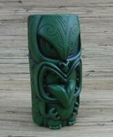 "Mow-Mow Tiki Mug by Tank 21oz Approx 7"" Tiki Bar Green w/Black Wash Maori Art"