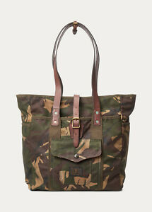 Polo Ralph Lauren Canvas Leather Camo Tote Bag New