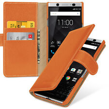 TETDED Premium Leather Book Case for BlackBerry KEYone Gerzat (LC: Orange)