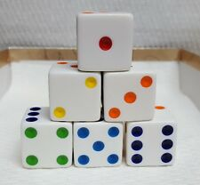Dice - 25mm Opaque White w/Rainbow Pips -  Set of six - Very LARGE & Easy To See
