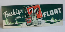 2001 7UP FLoat Metal Sign with Glass & Bottle    Soda Pop  Ice Cream