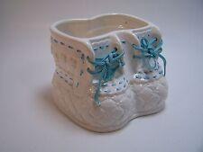 Vintage  Baby Boot Planter Laces Blue  Japan