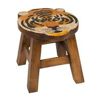 Tiger Design Hand Carved Acacia Hardwood Decorative Short Stool