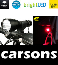 front powerful C8 & rear 3 led all rechargeable lights set kit flash bike light