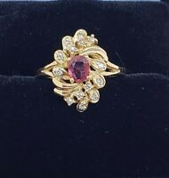 Ruby and diamond ring 14 K yellow gold pre-owned size 7