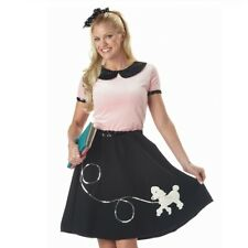 Womens 1950s 50s Grease Pink Poodle Dress Outfit Costume