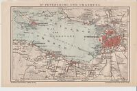 c.1890 RUSSIA SAINT PETERSBOURG OUTSKIRTS Antique Map