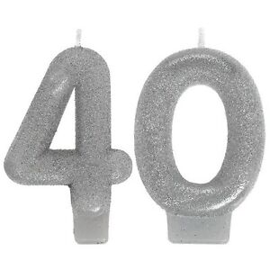 Sparkling Celebration Glitter Candles 30th 40th 50th 60th Birthday Party Supply