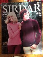 Mens knitting patterns.jumpers.size 32-42 inch chest.womens.4 ply.Sirdar.cable