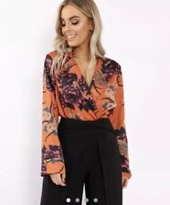 THE FASHION BIBLE RUST FLOWER PRINT PLUNGE SATIN BODYSUIT - MADELYNN! Size 10