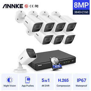 ANNKE 8MP CCTV 4K DVR 8CH System Outdoor Vivid HD Home Camera Security Kit IP67