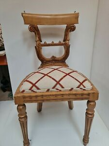 Solid Timber Carved vintage Ornate, Chair red/cream Fabric Seat shabby chic