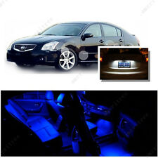 For Nissan Maxima 2004-08 Blue LED Interior Kit + Xenon White License Light LED