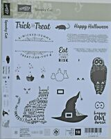 "SUX  STAMPIN' UP! ""SPOOKY CAT"" POLYMER SET OF 18 STAMPS + PUNCH NIB   RET"