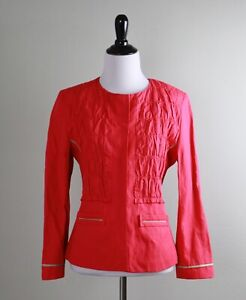 ELIE TAHARI $298 Shirred Crinkle Snap Up Silk Lined Jacket Top Size Small