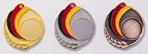 3 Bowling-Medaillen (gold,silber,bronze) mit Deutschland-Bändern