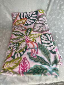 Vera Bradley Rain Forest Canopy Pink Parrot Plush Throw Blanket 23653-X02  (new)