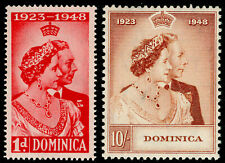 More details for dominica sg112-123, royal silver wedding set, nh mint. cat £25.