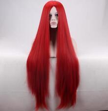 Sally 95cm Largo Recto Red Cosplay Peluca + un casquillo de la peluca