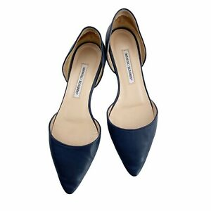Manolo Blahnik Soussa Navy Blue Leather Pointed Dorsay Flats Size 9.5 EU 39.5