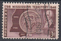 USA Briefmarke gestempelt 3c Mississippi Territory 1798 1948 / 3900