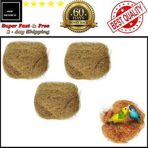 Natural Coconut Fiber Nesting Material Birds Finch Nest Small Animal Cage 3 pack