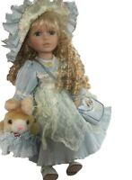 Porcelain Doll  Bunny Theme Blue Blonde Curly Hair