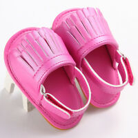 Newborn Baby Toddler Girl Crib Shoes Leather Tassel Soft Sandals Prewalker 0-18M