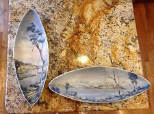 Soft Paste Porcelain Majolica Platters Nove Italy Signed Art Deco Hand Painted