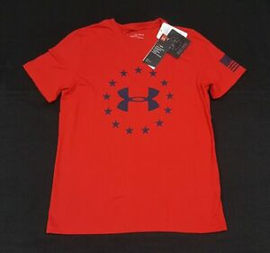 Under Armour Boys Short Sleeve US Freedom Logo T-Shirt Red  1333347-600