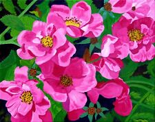 WILD ROSES #1 COLORFUL FLOWERS ORIGINAL ACRYLIC PAINTING READY-TO-HANG