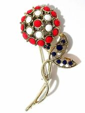 RED WHITE AND BLUE RHINESTONE FLOWER PIN PATRIOTIC VINTAGE MID CENTURY