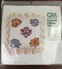"""""""Exotic Flowers"""" Crewel Embroidery Pillow Kit Columbia-Minerva"""