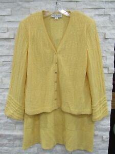 St. John Butter Yellow Santana Knit Logo Buttons Jacket & Skirt Suit 14