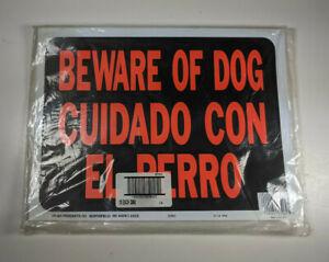 """10X Hy-Ko 3060 Beware Of Dog - Cuidado Con El Perro 12"""" x 9"""" Plastic Sign"""