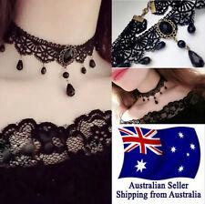 Black Gothic Velvet Lace Choker Necklace Gem Collar Party Jewelry 1pc AU Seller
