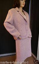 SUPERBE - Marie Clémence Tailleur jupe en laine rose + mauve chiné Paris 50 NEUF