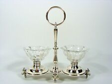 ANCIEN SALERON DOUBLE EN METAL ARGENTE CHRISTOFLE CRISTAL TAILLE BACCARAT 1879