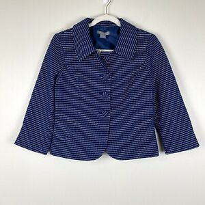 NWT Ann Taylor Size 6 Blue White Collared Blazer Career Lined Womens